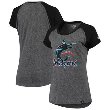 Miami Marlins 5th & Ocean by New Era Primary Logo Heritage Raglan T-Shirt Heathered Charcoal
