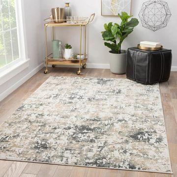Laramie Abstract White/ Dark Grey Indoor Area Rug (5' x 7'6) - 5' x 7'6