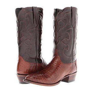 Lucchese M1635 (Sienna Belly Crocodile/Dark Brown Derby Calf) Cowboy Boots