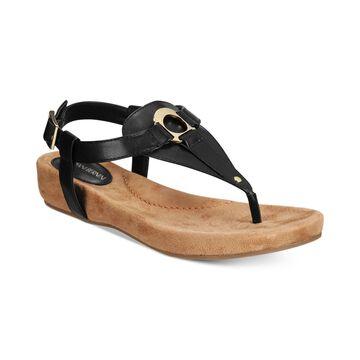 Giani Bernini Womens Raisaa Open Toe Casual T-Strap Sandals, New Black, Size 7.0