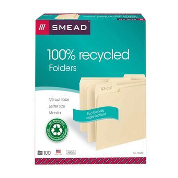 Smead Manila File Folders, Letter Size, 1/3 Cut, 100% Recycled, Box Of 100