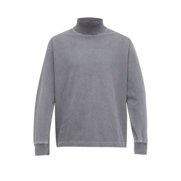 Lemaire - Washed-effect Roll-neck Cotton Sweatshirt - Mens - Light Blue