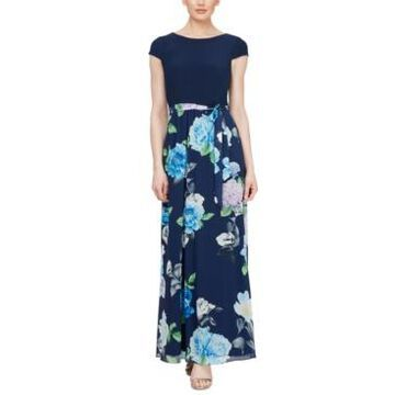 Sl Fashions Cap-Sleeve Floral-Print Maxi Dress