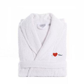 "Linum Home Textiles ""I Love You"" Embroidered Cotton Terry Bathrobe, Men's, Size: Large/XL, Blue"