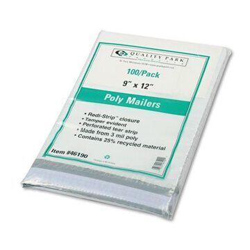 Quality Park 4Redi Strip Poly Mailer, 9 x 12, White, 100/Box -QUA46190