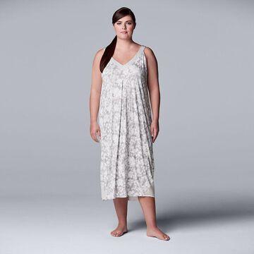 Plus Size Simply Vera Vera Wang V-Neck Chemise, Women's, Size: 1XL, Light Grey