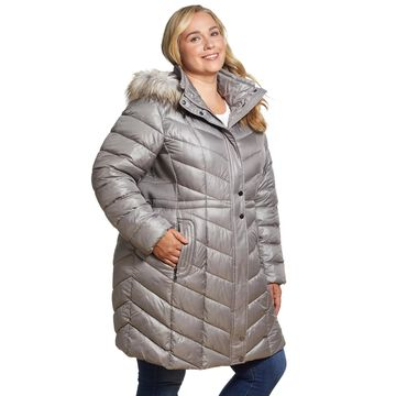 Plus Size Gallery Faux-Fur Hood Quilted Puffer Coat