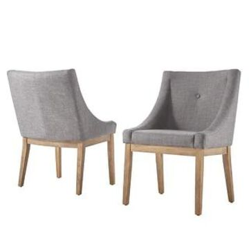 Voyager Button Tufted Slope Arm Linen Dining Chair (Set of 2) by iNSPIRE Q Artisan (Grey)