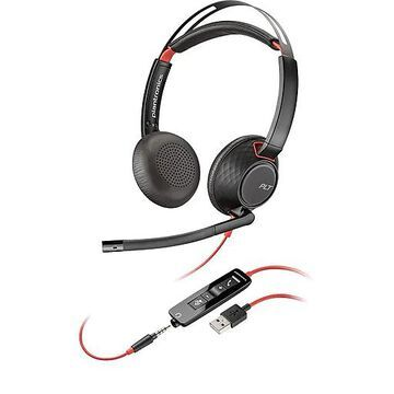 Plantronics Blackwire 5220 Noise Canceling Stereo Headset Microphone, Over-the-Head, Black (207576-01)