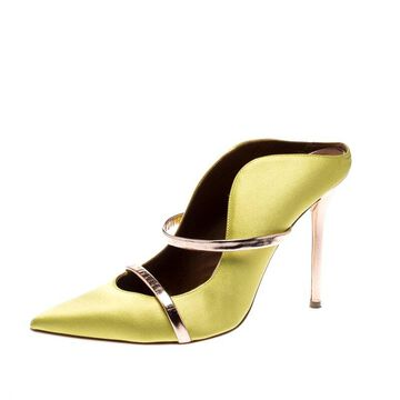 Malone Souliers Lime Yellow Satin And Leather Trim Moureen Pointed Toe Mules Size 40