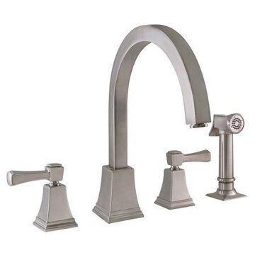 Design House 522110 Torino Classic Modern 2-Handle Kitchen Faucet with Side Sprayer, Satin Nickel