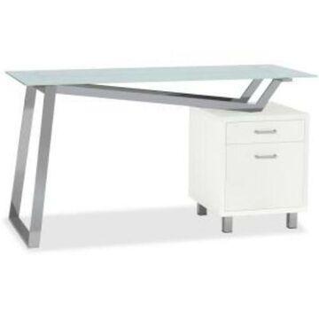 Mayline Glass Top 2-drawer Pedestal V-desk - Pedestal Base - 2 (1001vtgw)