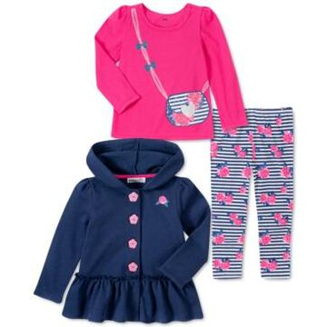 Kids Headquarters Baby Girls 3-Pc. Hooded Fleece Jacket, T-Shirt & Leggings Set