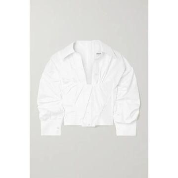Alexander Wang - Gathered Cropped Cotton-poplin Shirt - White