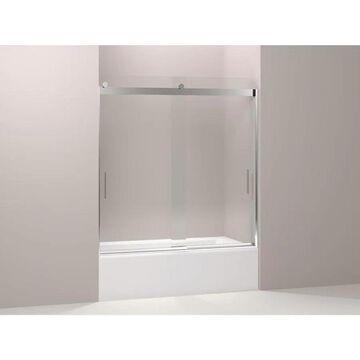 KOHLER Levity 62-in H x 56.625-in to 59.625-in W Frameless Sliding Bright polished silver Bathtub Door (Clear Glass) | K-706163-L-SHP