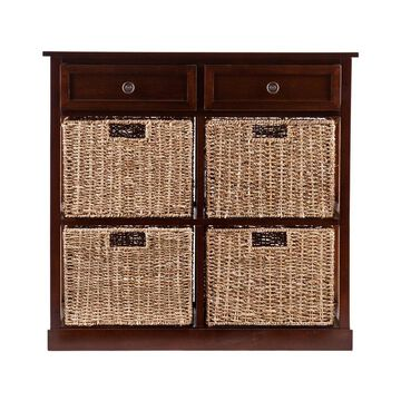 Boston Loft Furnishings Raleigh 29-in W x 27.75-in H x 11.75-in D Mahogany Acacia Freestanding Linen Cabinet
