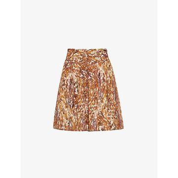 Whistles Womens Multi-coloured Marble-print Silk Shorts 12
