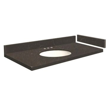 Transolid 43-in Black Carrara Quartz Single Sink Bathroom Vanity Top | VT43X22-1OU-6B-8