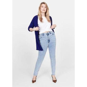 Violeta BY MANGO - Fine-knit cardigan vibrant blue - L - Plus sizes
