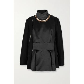 Sacai - Leather-trimmed Embellished Paneled Wool And Shell Jacket - Black