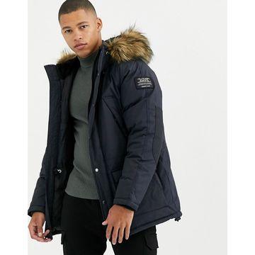 Schott Artica X hooded nylon parka jacket slim fit detachable faux fur trim in navy