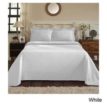 Superior Jacquard Matelasse Fleur-de-lis Bedspread Set (White - King)