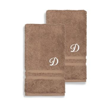 Authentic Hotel and Spa Omni Turkish Cotton Terry Set of 2 Latte Brown Hand Towels with White Script Monogrammed Initial