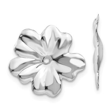 14K White Gold High Polished Floral Earring Jackets by Versil (White)
