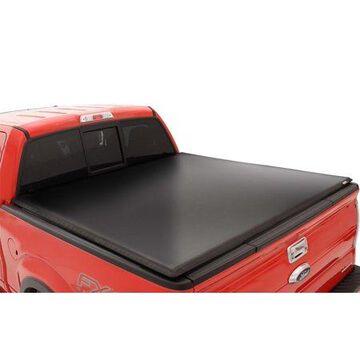Lund 95097 Genesis Tri-Fold Tonneau; Black Leather Look; w/Utili-Track; w/o Titan Box;
