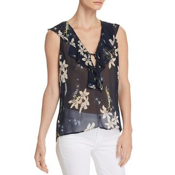 Paige Womens Danae Silk Floral Print Blouse