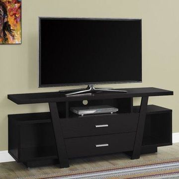 Monarch Tv Stand Cappuccino With 2 Storage Drawers For TVs Up To 60