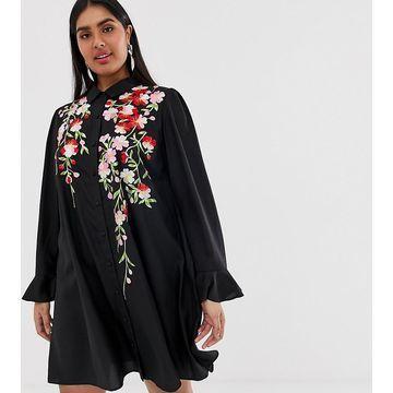 ASOS DESIGN Curve embroidered swing mini shirt dress