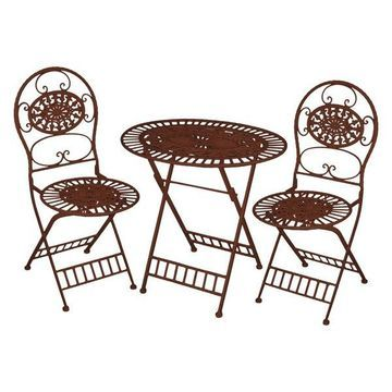 Alpine KIY212A-BR Bistro Table and Chairs Set, Brown