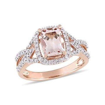 Tangelo 1-1/3 Carat T.G.W. Morganite and 1/6 Carat T.W. Diamond 10kt Rose Gold Halo Cocktail Ring