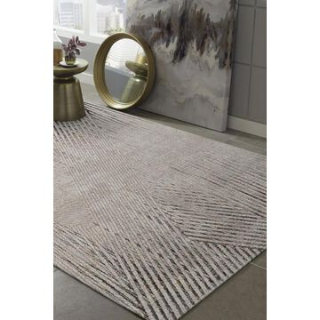 KAS Rugs Inspire 7 x 9 Ivory/Grey Indoor Abstract Farmhouse/Cottage Area Rug Polyester in Off-White   INS750467X96