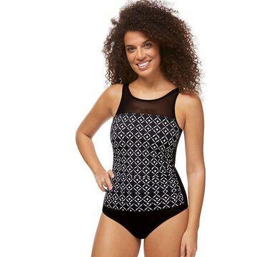Women's Amoena Shirred High-Neck UPF 50 One-Piece Swimsuit, Size: 24 C, Black