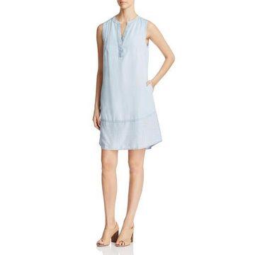 Foxcroft Womens Mika Chambray Striped Casual Dress