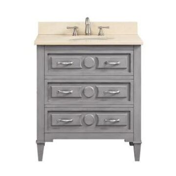 Avanity Kelly 30-inch Vanity Combo in Grayish Blue with Top and Sink (Galala Beige Marble Top)