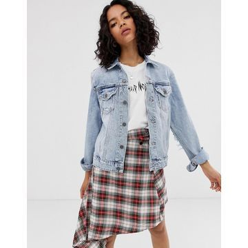 Cheap Monday recycled denim trucker jacket with elbow rips-Blue
