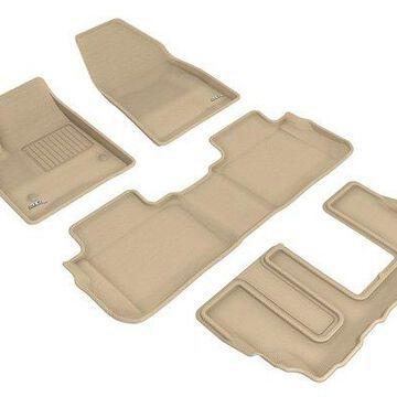 3D Maxpider Kagu Floor Mats, Floor Mat Set - KAGU Floor Mat - Front, Rear and Third Row - PN L1CD02201502 in Tan
