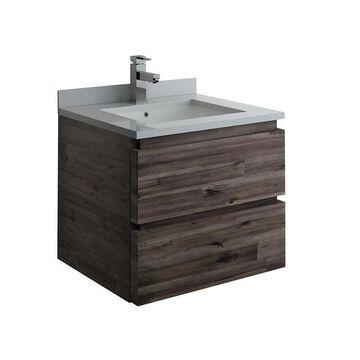 Fresca Stella 24-in Acacia Wood Single Sink Bathroom Vanity with White Quartz Top in Brown