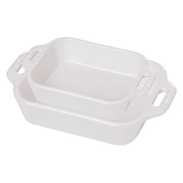 2-Piece Staub Ceramic Rectangular Baking Dish Set, White