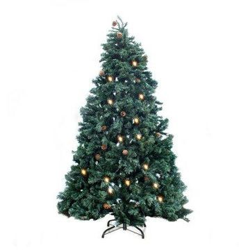 ALEKO Pre-Lit Artificial Christmas Tree with Pine Cones - 8 Ft