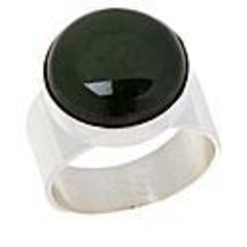 Mine Finds by Jay King Sterling Silver Green Nephrite Jade Round Ring - Silver