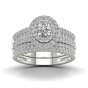 De Couer 1ct TDW Diamond Halo Engagement Ring Set in 14k Rose Gold