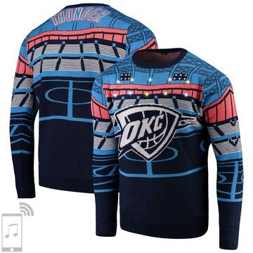 Oklahoma City Thunder Courtside Bluetooth-Enabled Light Up Ugly Sweater - Navy