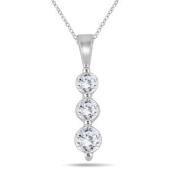 Marquee Jewels 10k White Gold 1/2ct TDW Diamond Graduated 3-stone Pendant (18 Inch - White)