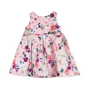 Baby Girls Floral-Print Mikado Dress