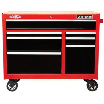 CRAFTSMAN 2000 Series 41-in W x 35-in H 7-Drawer Steel Rolling Tool Cabinet (Red) | CMST98041RB