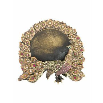 Embellished Peacock Picture Frame Green